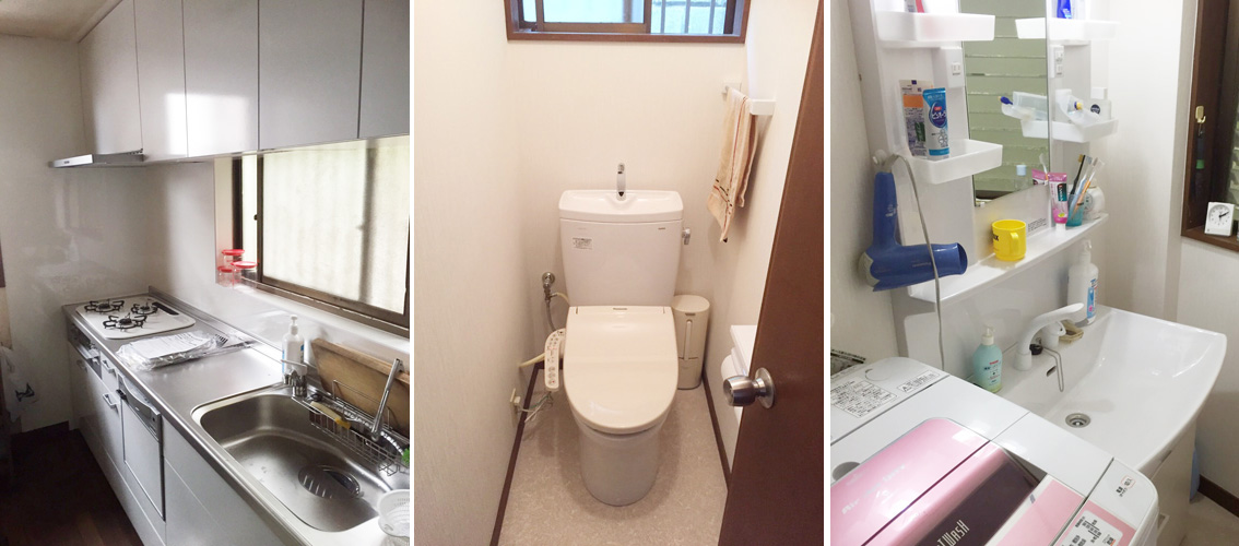 水廻り改修工事をいたしました。 施工箇所:キッチン、トイレ、洗面所