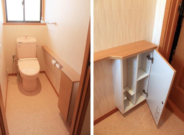 トイレ改修工事です。便器本体はそのまま、クロスと床、収納をリフォームいたしました。